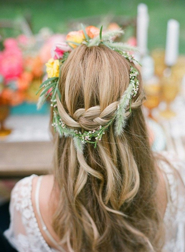 Wedding Hairstyles Rustic Half Up Half Down Braided Wedd Flickr