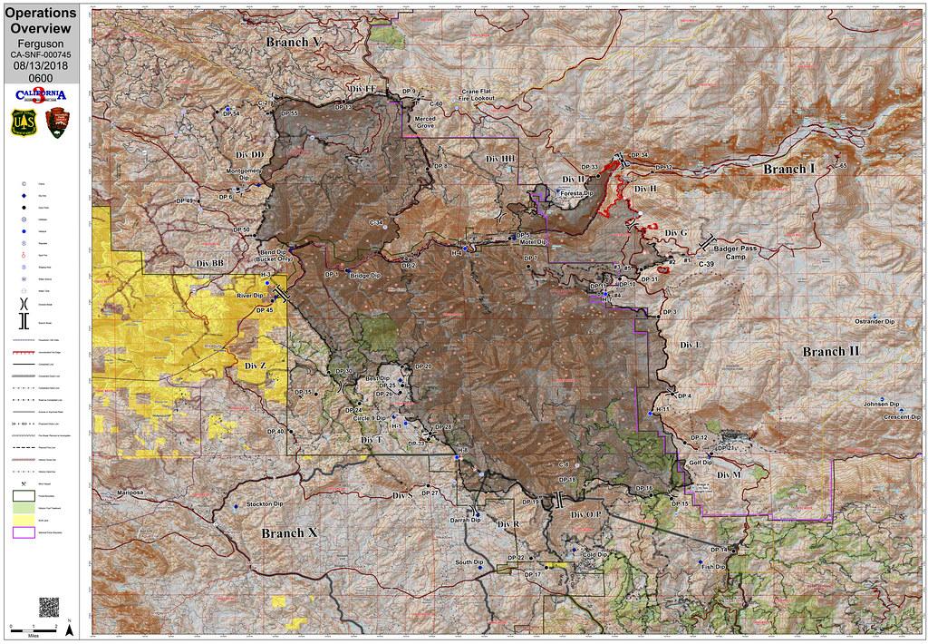 Ferguson Fire California Map.Ferguson Fire Operations Map 13 August 2018 Edited United Flickr