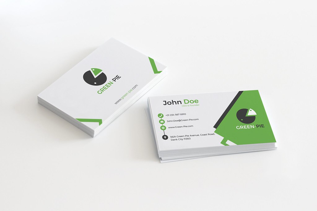 corporate business card design for ceo of green pie grocer flickr