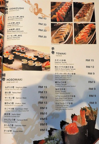 Sushi and Hand Roll menu at Rakuzen Japanese Restaurant | by huislaw