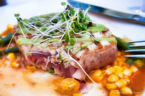 Ahi Tuna with Corn, Green Bean and heirloom tomatoes | by Sierra Springs Photography