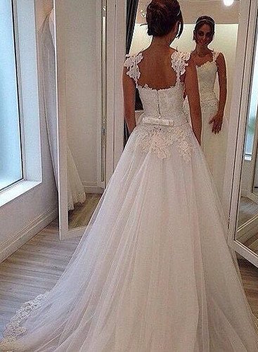 Modest illusion lace straps tulle a line wedding dresses | by rubbyrubby15