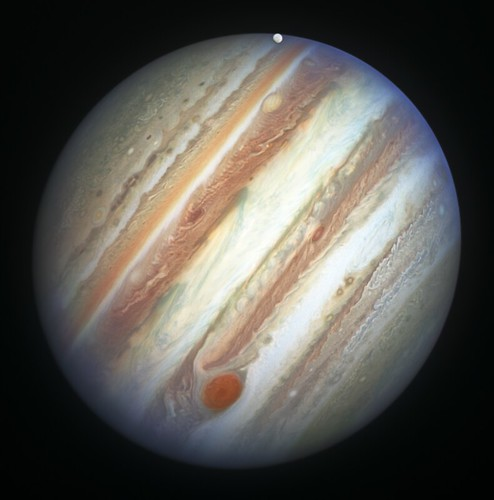 Jupiter's Red Spot and Europa | by geckzilla
