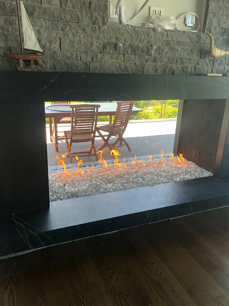 Custom indoor outdoor gas fireplace | Thompson\'s Hearth & Home | Flickr