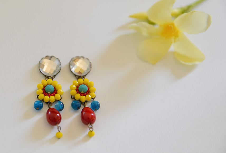 Summer Earrings Chandelier Boho Chic Red Teardrop Jewelry