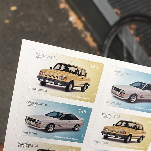 #Wartburg 1.3 vs #audi #quattro. €1,45 #stamps from #deutschepost. #retro #1990s #ostalgie | by jonworth-eu
