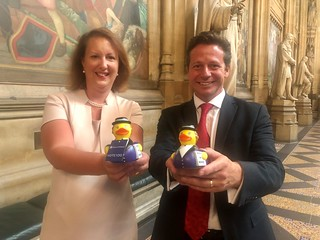 Nigel Huddleston MP and Victoria Prentis MP with Suffraducks for their co-hosted Equalitea event | by Nigel Huddleston MP for Mid Worcestershire