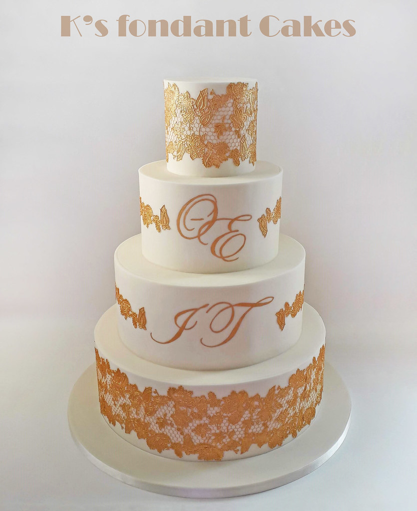 Gold Lace Wedding Cake K S Fondant Cakes Flickr