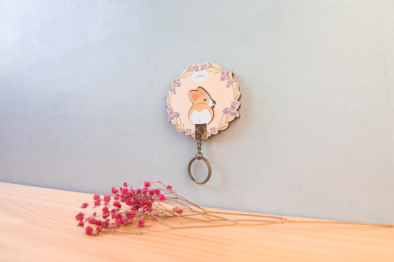 鑰匙圈 客製化 禮物 特色產品 居家 台灣設計 生日 情人節 狗 情侶 動物 花圈 寵物 療癒 聖誕節 收納 裝飾 吊飾 送禮 中性 木 楓木 胡桃木 鑰匙