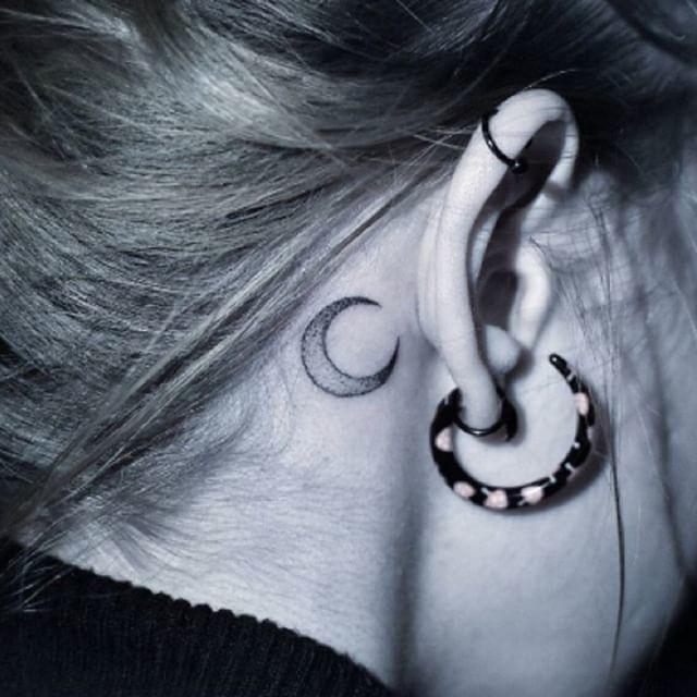 Luna Detrás De La Oreja Minitatuaje Tattoo Tatuaj Flickr