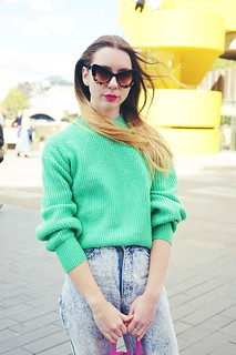 Bright knit, converse, pink and green | by Chelsea Jade Loves