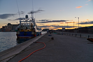 ROSE OF SHARON AND HER SISTER BOAT ATLANTIC ROSE [TWO TRAWLERS AT SUNSET ON THE RIVER LEE AT HORGAN'S QUAY]-144426 | by infomatique