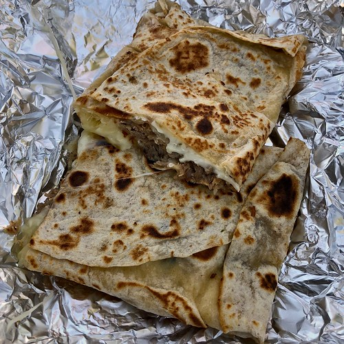 carnitas quesadilla from Tacos El Flaco food Truck | by Fuzzy Traveler
