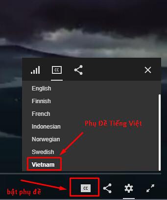 Cách bật Việt Sub