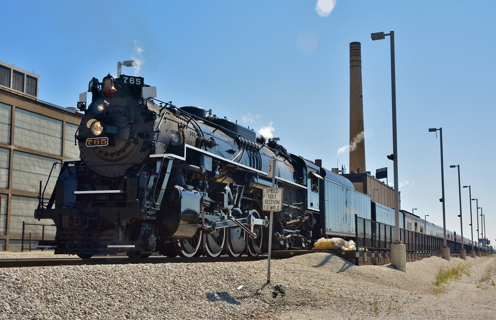 Backlit steam | NKP 765, pushing back to Joliet, passes the … | Flickr