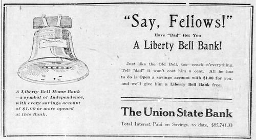 1920 - Liberty Bell bank from First Union Bank - Enquirer - 12 Feb 1920 | by historic.bremen