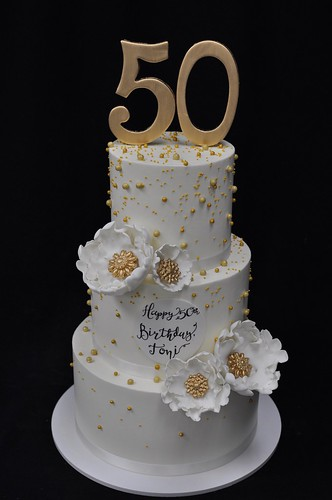 White And Gold Pearl 50th Birthday Cake Jenny Wenny Flickr
