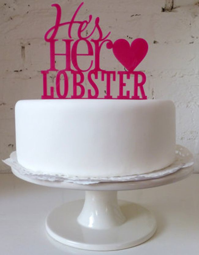 Wedding Quotes : he\'s her lobster wedding cake topper yout ...