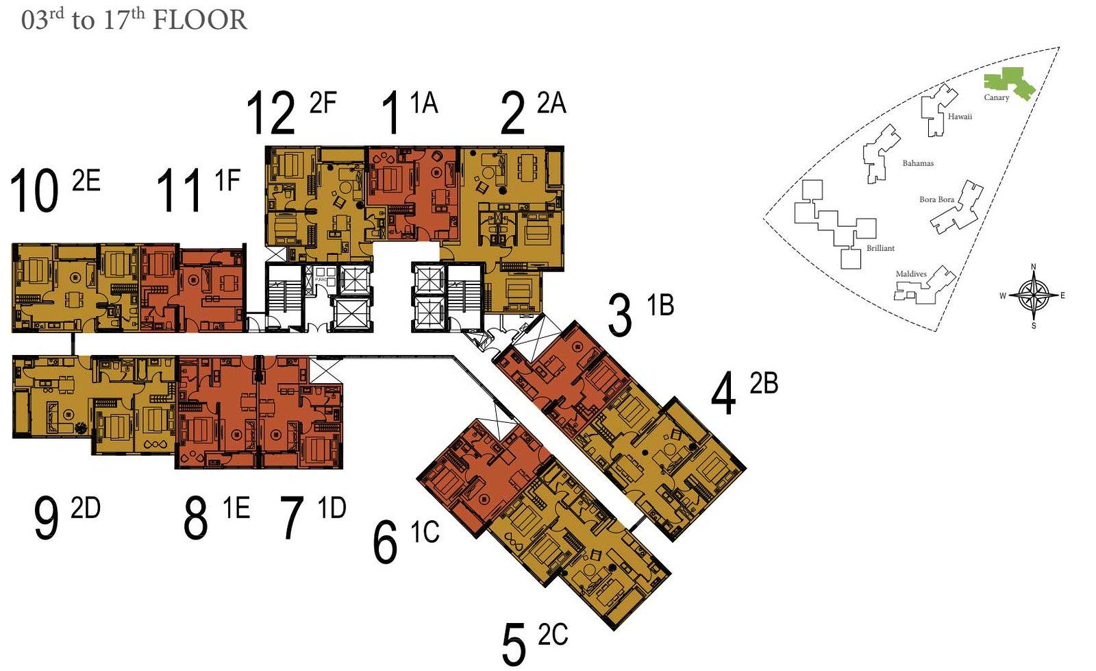 Mặt bằng tầng 3 đến tầng 17 căn hộ Đảo Kim Cương Quận 2