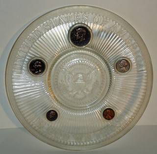 Glass plate with embedded 1964 coins | by Numismatic Bibliomania Society