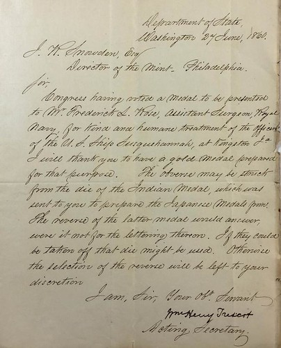 Letter from from William H. Trescot to James R. Snowden | by Numismatic Bibliomania Society