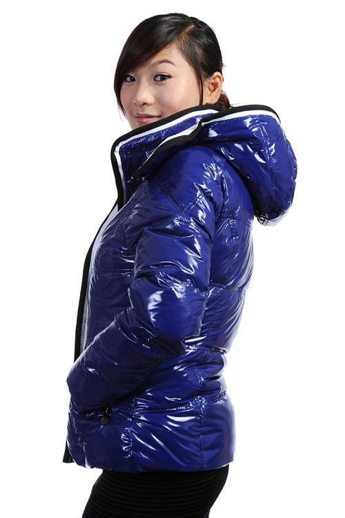 Moncler Quincy Doudoune Down Jacket Women Shiny Dark Blue