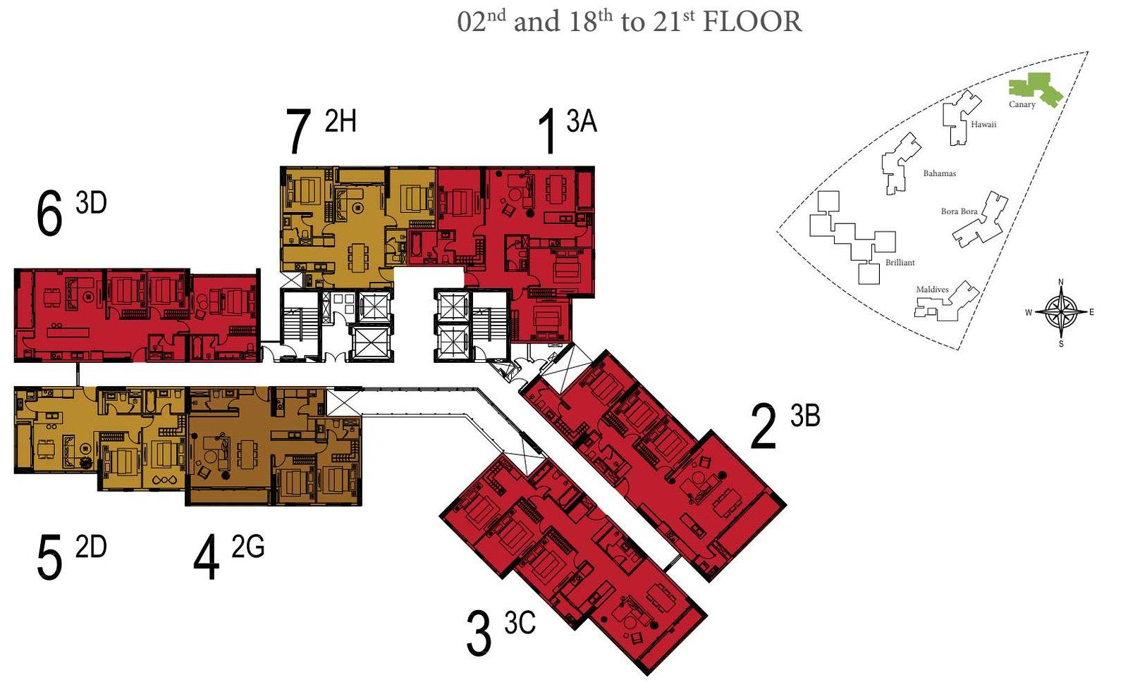 Mặt bằng tầng 2, tầng 18 đến tầng 21 tòa tháp Canary Đảo Kim Cương
