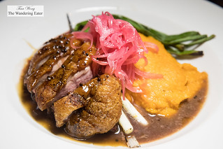 Maple-Bourbon Glazed Duck Breast, .Grilled Scallions, Pickled Red Onion & Sweet Potato Purée | by thewanderingeater