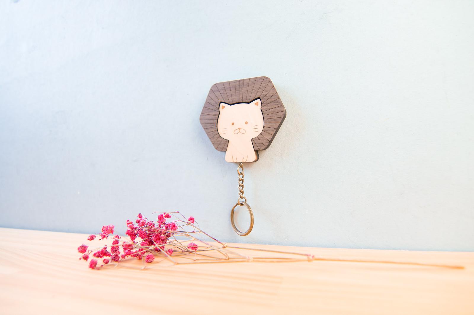 鑰匙圈 客製化 禮物 特色產品 居家 台灣設計 生日 情人節 動物 療癒 獅子 貓咪 喵 聖誕節 收納 裝飾 吊飾 送禮 中性 木 楓木 胡桃木 鑰匙