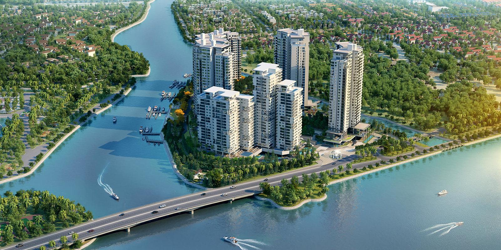 Căn hộ Diamond Island Luxury Residences có vị trí trung tâm với 3 mặt giáp sông, mật độ xây dựng thấp giúp không gian luôn thoáng đãng và mát mẻ quanh năm