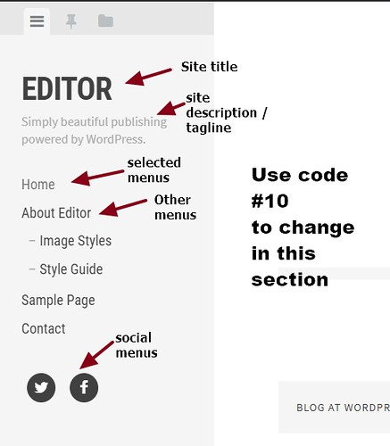 theme Editor by Array  site title menus and social icons modification | by wordpress css customization