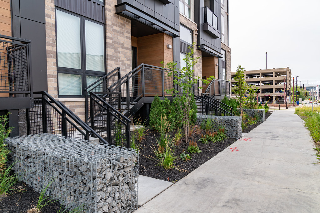 ... Gabions (Rocks In Cages) At The Link, Luxury Apartments In Minneapolis  | By