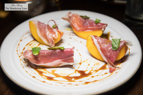 Presunto, peaches, Fermin Iberico ham, basil, burnt vinegar (Madeira) | by thewanderingeater