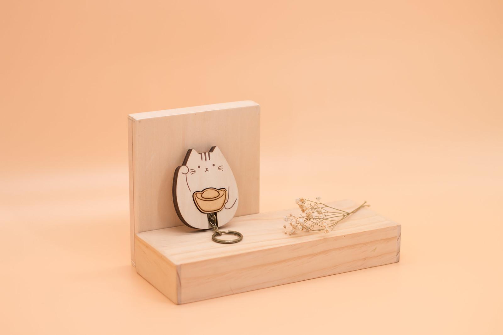 鑰匙圈 客製化 禮物 特色產品 居家 台灣設計 生日 情人節 動物 療癒 貓咪 日本 喵 招財 聖誕節 收納 裝飾 吊飾 送禮 中性 木 楓木 胡桃木 鑰匙