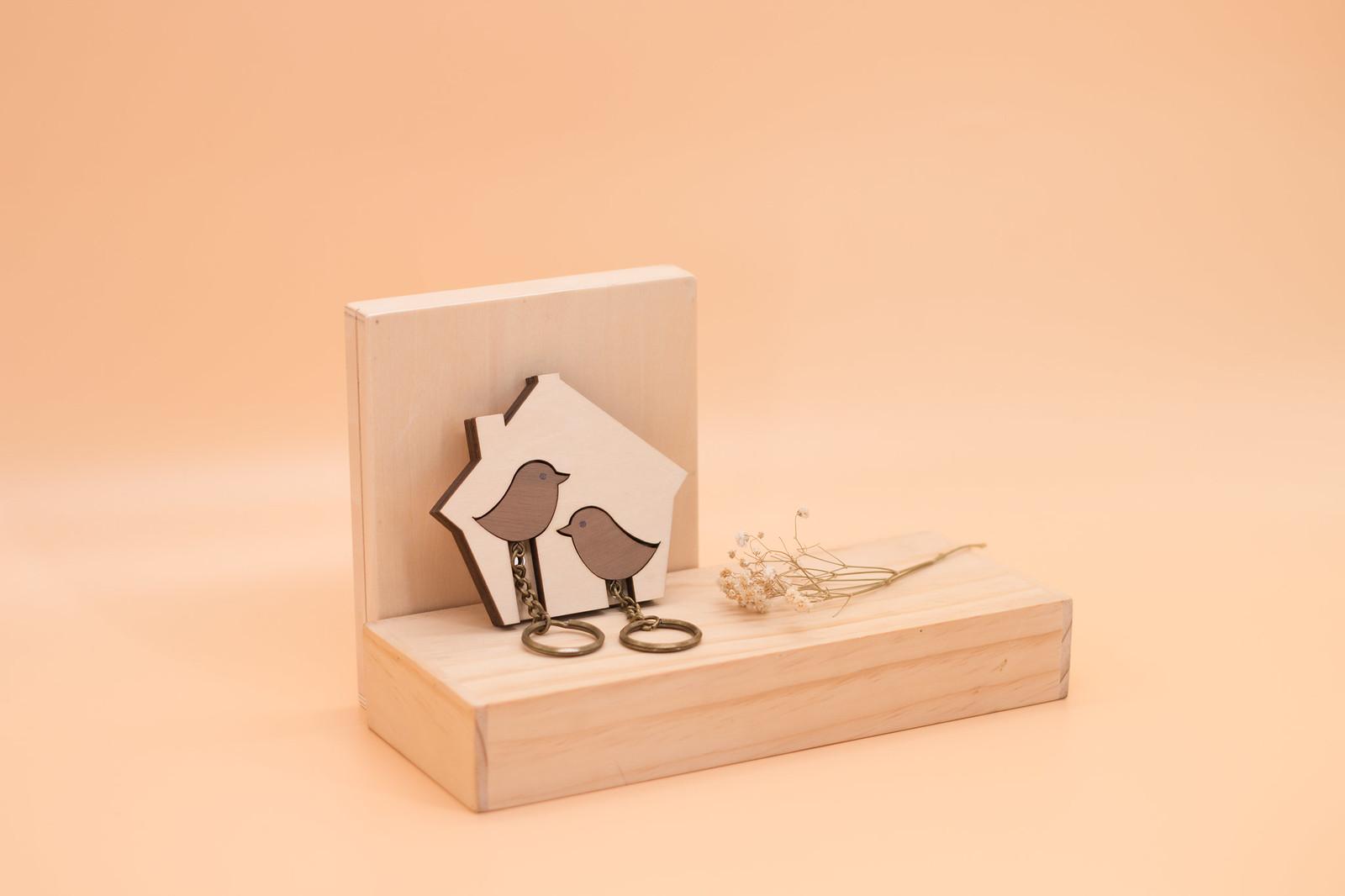 鑰匙圈 客製化 禮物 特色產品 居家 台灣設計 生日 情人節 情侶 雙人 鳥 動物 房子 壁掛 簡約 多肉 玄關 療癒 聖誕節 收納 裝飾 吊飾 送禮 中性 木 楓木 胡桃木 鑰匙