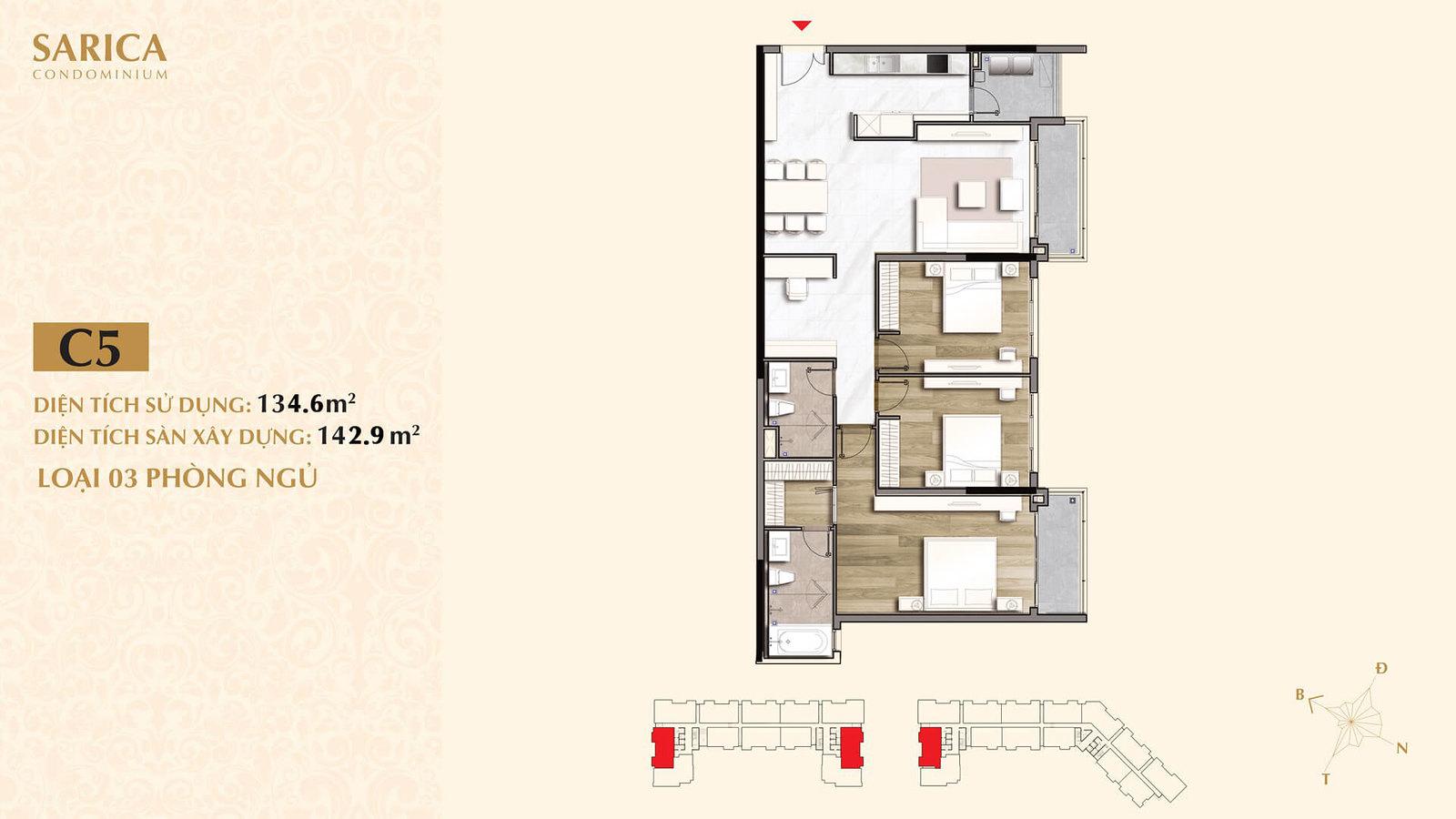 Căn hộ với thiết kế 2 balcony rất đẹp và vuông vức