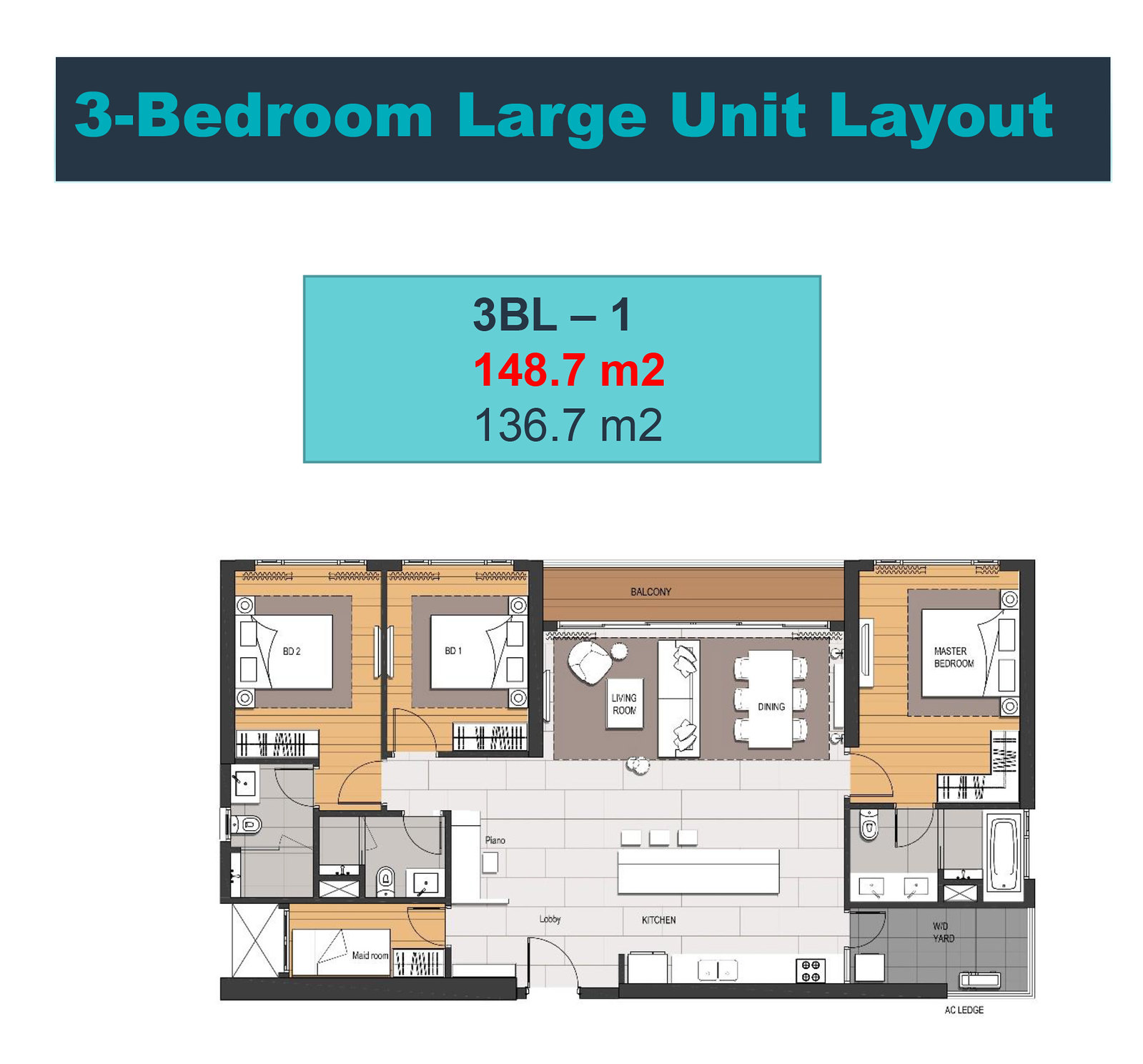 Mặt bằng thiết kế căn hộ 3 phòng ngủ loại lớn tòa Linden - Empire City