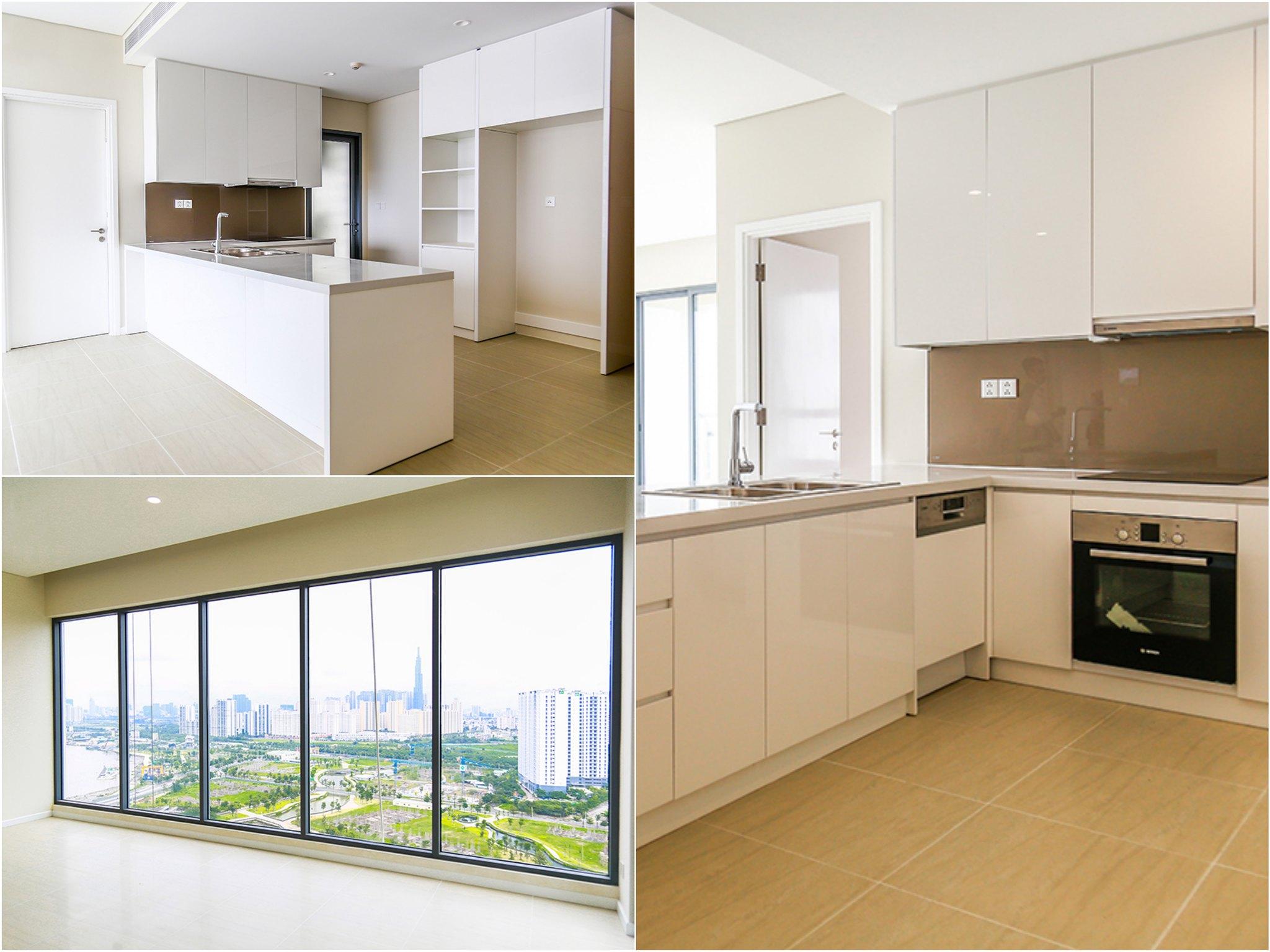 hình ảnh thực tế căn hộ tòa Bahamas được nhận bàn giao từ chủ đầu tư: Bao gồm hoàn thiện sàn, trần, đèn chiếu sáng, máy lạnh, bếp, tủ bếp, lò nướng, máy rửa chén,.....