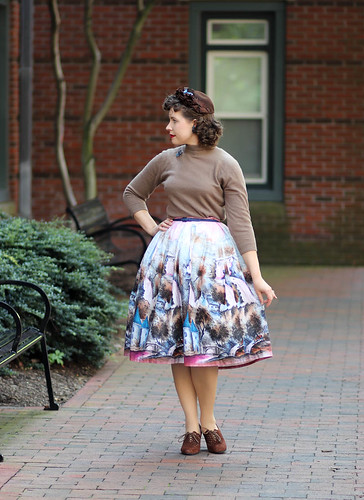 1950s pink novelty landscape skirt with brown hat and shoes | by polka.polish