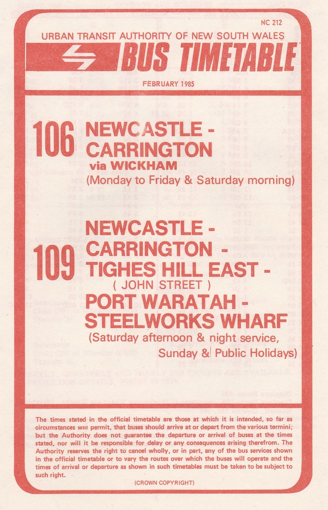 Bus Timetable Cover Of Urban Transit Authority Of Nsw Newcastle Region Bus Routes 106