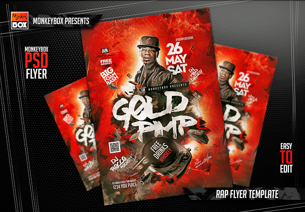 rap flyer template download psd here goo gl x54yy7 monkey box