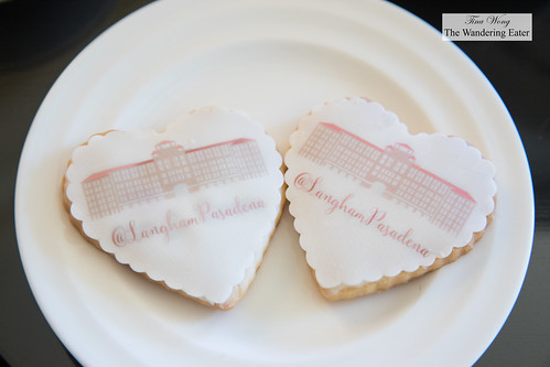 Sugar cookies topped with fondant imprinted with Langham Pasadena's hotel image | by thewanderingeater