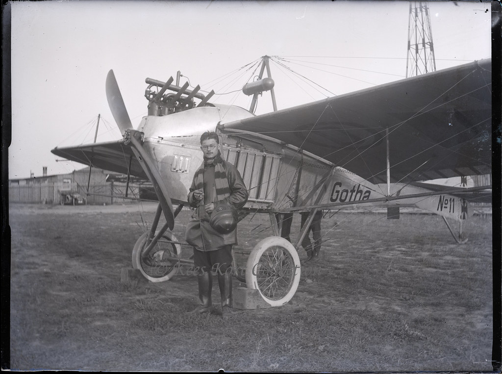 A Glass Plate Negative Of Ebner Posing Before Gotha LE2 Taube Germany