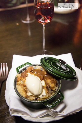 Bread pudding paired with Rare Wine Co. Historic Series Madeira Charleston Sercial Special Reserve | by thewanderingeater