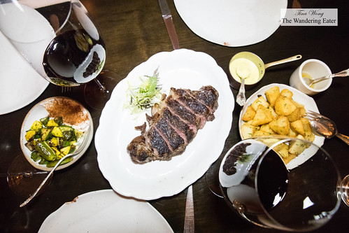 Creekstone New York strip steak with a side of duck fat fries and Summer squash with spiced yogurt | by thewanderingeater