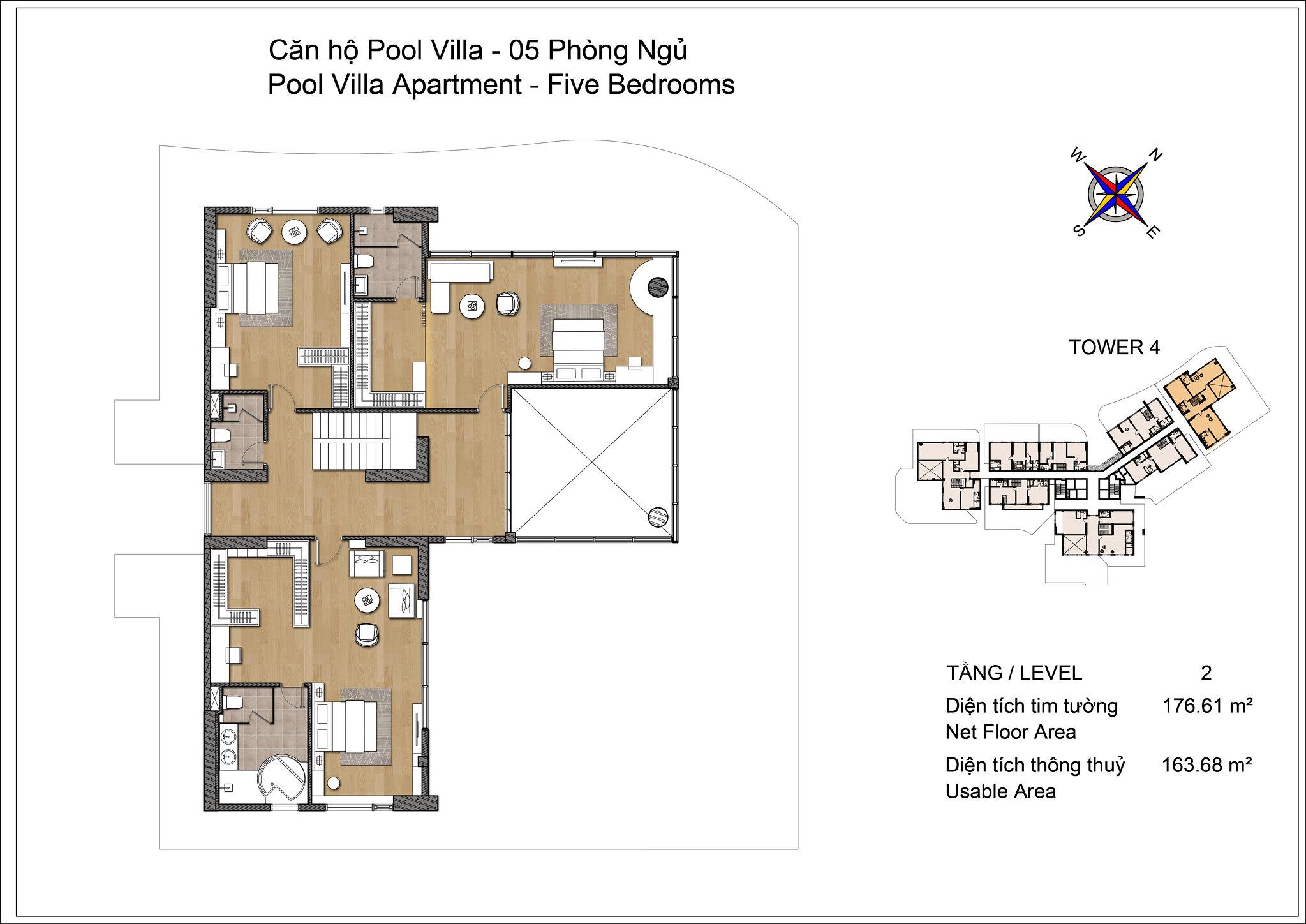 Thiết kế tầng 2 Pool Villa Đảo Kim Cương