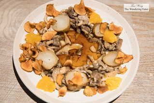 Sunchoke, oyster mushroom, black truffle, orange | by thewanderingeater