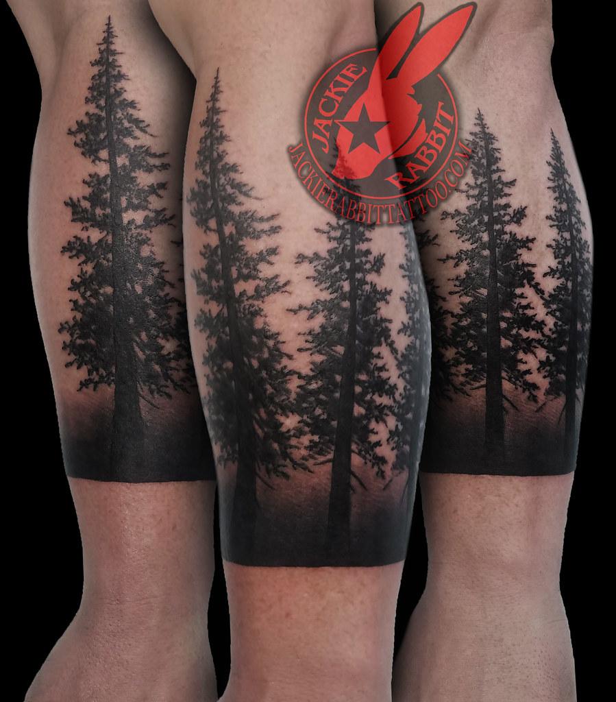 Pine Tree Forest Silhouette Realistic Black Work Ink Sleev Flickr