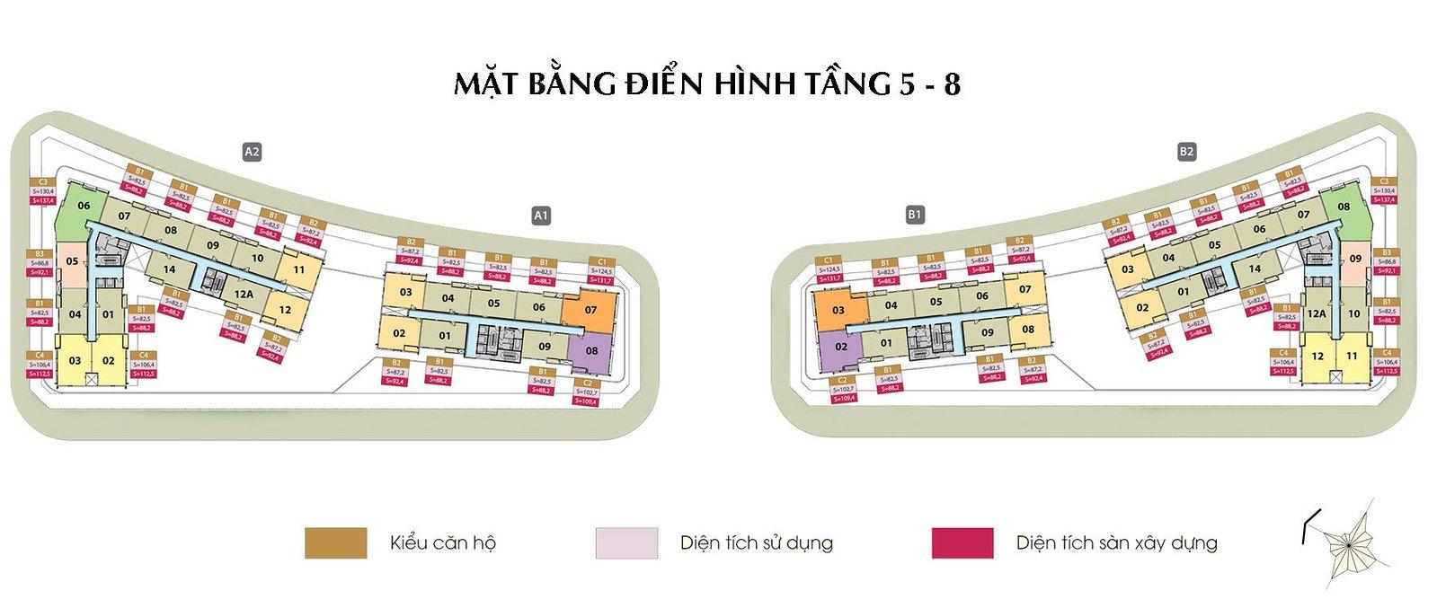 Mặt bằng tầng điển hình căn hộ cao cấp Sarimi - Đại Quang Minh; Gồm 4 Block: A1, A2, B1, B2