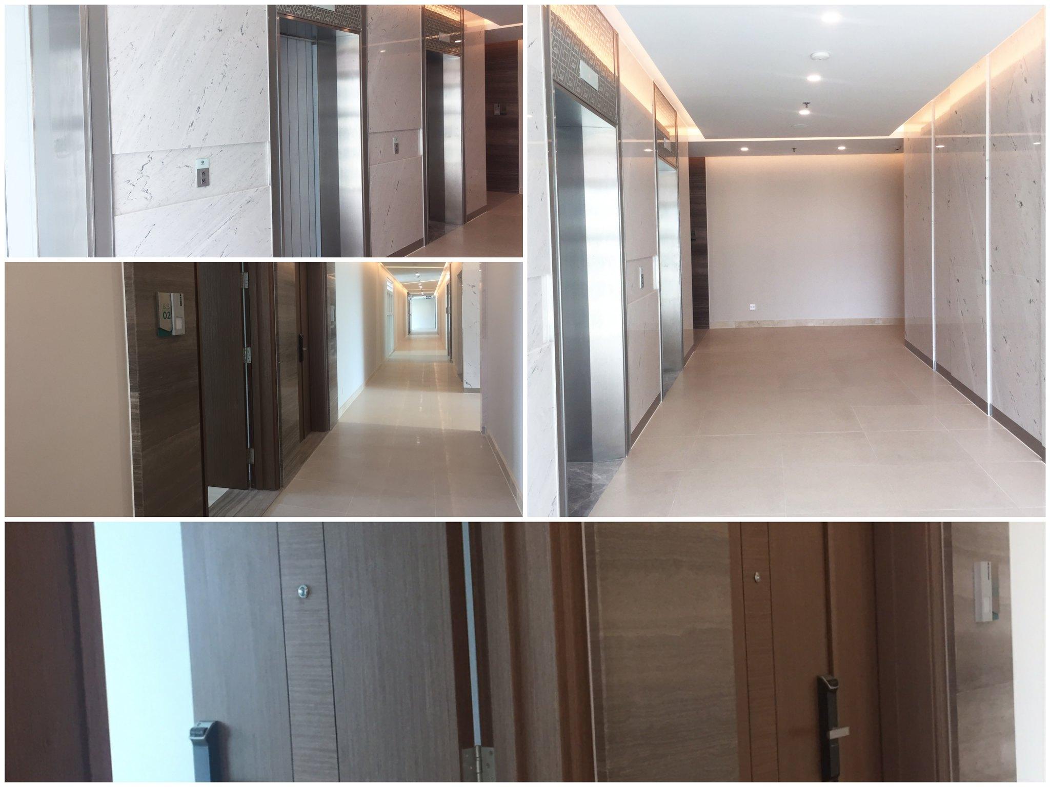 Khu vực hành lang, sảnh lobby thang máy và cửa chính ra vào căn hộ Sadora - hình chụp thực tế tại tầng 18